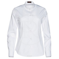 Camisa sra. manga larga cuello maho blanca